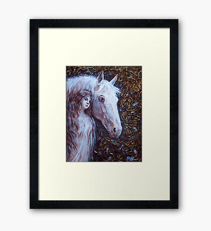 White Horse Beauty Framed Print