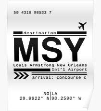 NOLA MSY New Orleans International Airport Call Letters Poster