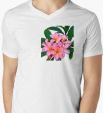 Pink Frangipani Flowers Photograph Men's V-Neck T-Shirt