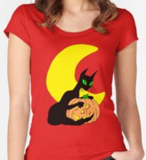 Black Cat Crescent Moon Women's Fitted Scoop T-Shirt