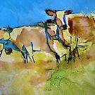Impressionist herd of cows painting - Against the Blue by MikeJory