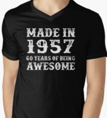 Made In 1957 60 Years Of Being Awesome Men's V-Neck T-Shirt