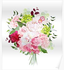 Beautiful vector bouquet with peony, rose, carnation, hydrangea, orchid, green plants on white vector design set. Bunch of flowers in modern mixed style. All elements are isolated and editable. Poster