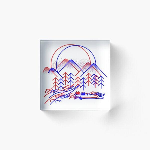 3D Mountain Illustration Acrylic Block