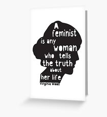 Virginia Woolf Feminist Quote!  Greeting Card