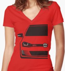 MK7 GTI Half Cut Women's Fitted V-Neck T-Shirt