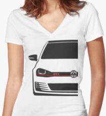 MK7 GTI Half Cut Women's Fitted V-Neck T-Shirt