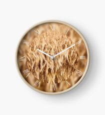 Golden cereal plants field Clock