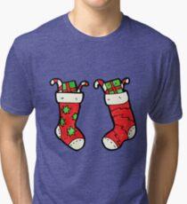 cartoon christmas stockings Tri-blend T-Shirt