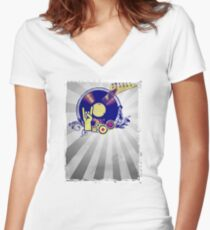 Music Collage Rays Women's Fitted V-Neck T-Shirt