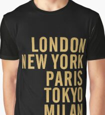 Cities on Black Graphic T-Shirt