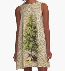 Pine Tree,Cedar Tree,Forest,Nature Dictionary Art,Christmas Tree A-Line Dress