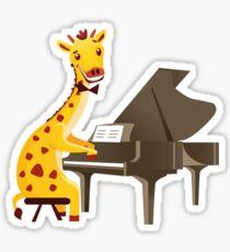 Funny giraffe playing music with grand piano Sticker