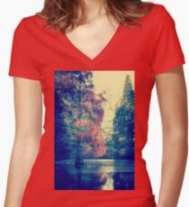 autumn leaves by the sea Women's Fitted V-Neck T-Shirt