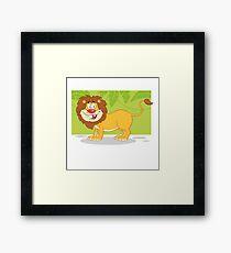 Happy cute cartoon lion Framed Print