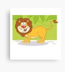 Happy cute cartoon lion Canvas Print