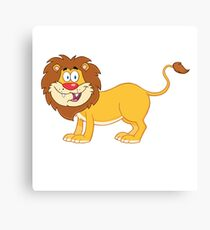 Cute funny cartoon lion Canvas Print