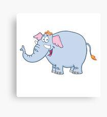 Funny cartoon elephant character Canvas Print