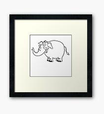Black and white cartoon elephant Framed Print