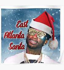 Gucci Mane East Atlanta Santa With Snow Background- Christmas Poster