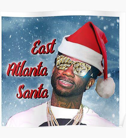 Gucci Mane East Atlanta Santa With Snow Background- Christmas Poster