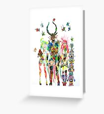 THREE HORNED DEMON WITH TEA TRAY,TWO GIRLS,NINE  Greeting Card