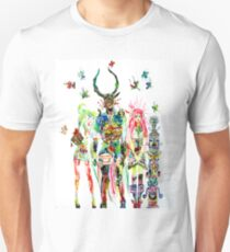 THREE HORNED DEMON WITH TEA TRAY,TWO GIRLS,NINE  Unisex T-Shirt