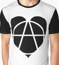 Black Anarchist Heart Graphic T-Shirt