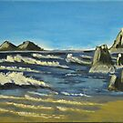 Acrylic painting, beach, sea waves and rocks by naturematters