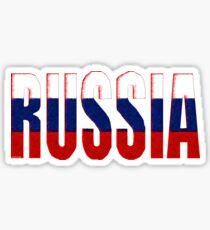 Russa Font with Russian Flag Sticker