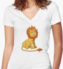 Cute funny cartoon lion sitting Women's Fitted V-Neck T-Shirt