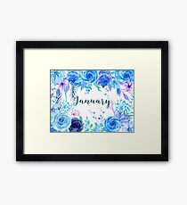 Watercolour Floral January Framed Print
