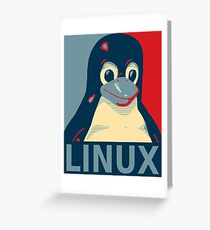 Tux red, white, and blue Greeting Card