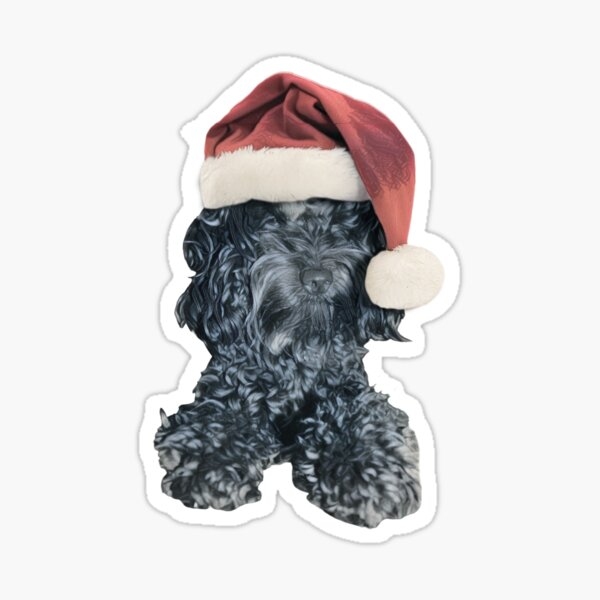 Cockapoo in a Christmas Santa Hat (Red) Sticker