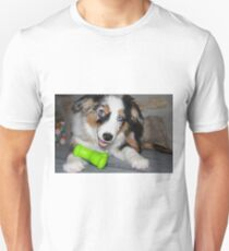 AS blue merle puppy with toy Unisex T-Shirt