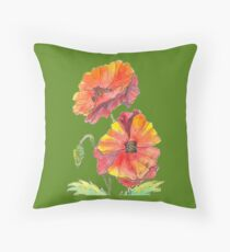 Pen and wash red poppies Throw Pillow