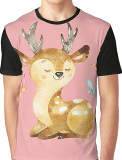 Cute Watercolor Woodland Baby Deer with Butterflies   Graphic T-Shirt