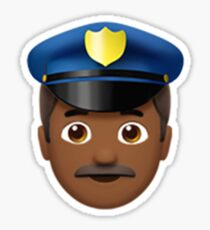 Emoji Police Officer (Brown Male) Sticker