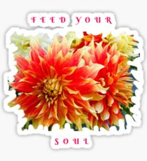 FEED YOUR SOUL DAHLIA INSPIRATIONAL QUOTE Sticker