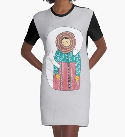 Lady And Her Polar Bear Friend Graphic T-Shirt Dress