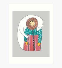 Lady And Her Polar Bear Friend Art Print