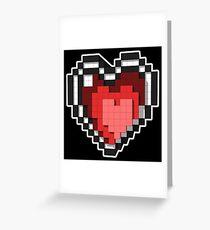 3D PIXEL - Hearts (BLACK) Greeting Card