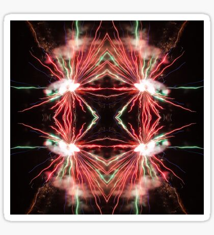 Spectacular Red and green Fireworks in black sky Sticker