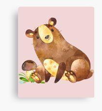 Cute Watercolor Woodland Baby Bear  Canvas Print