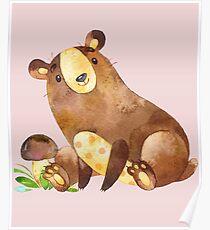 Cute Watercolor Woodland Baby Bear  Poster