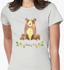 Cute Adorable Watercolor Woodland Bear Women's Fitted T-Shirt