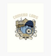 Cameralabs Photography Crest (Camera, Coffee, Beanie) Art Print