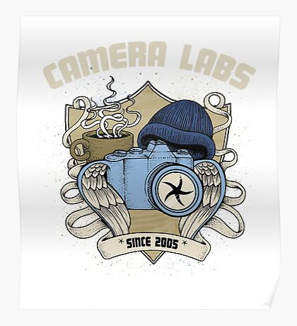 Cameralabs Photography Crest (Camera, Coffee, Beanie) Poster