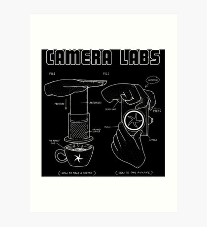 Cameralabs Photography and Coffee (White artwork) Art Print