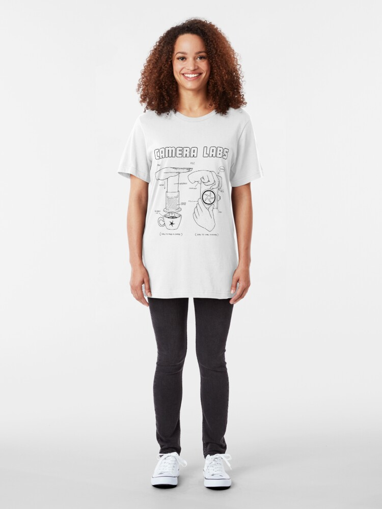 Alternate view of Cameralabs Photography and Coffee (Black artwork) Slim Fit T-Shirt